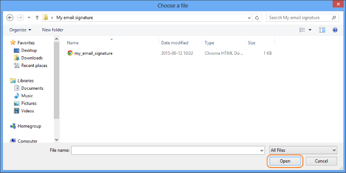 Insert a file with the mail signature from a folder on your computer