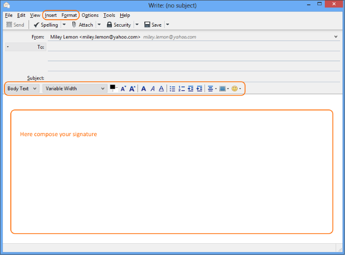 Compose your email signature directly in a new message body using available tools.