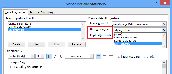 signatures email account