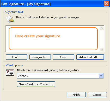 In the Signature text field, create your signature.
