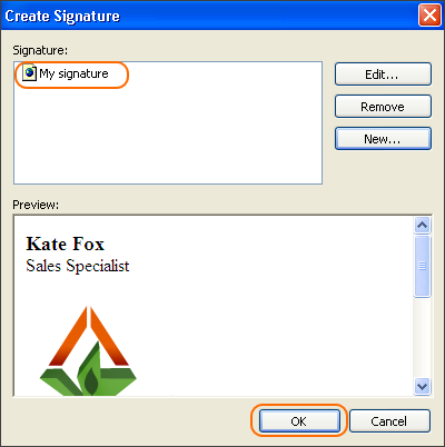 Take a final look at your signature and click OK.