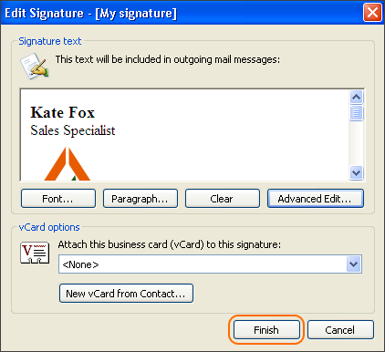 If your email signature looks as expected, click Finish.