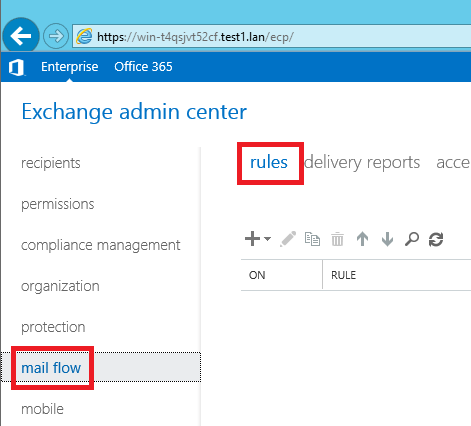 Microsoft Exchange 2016 - mail flow rules