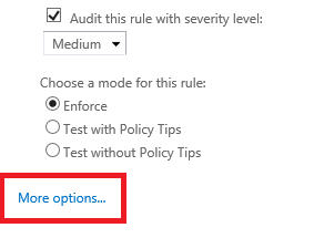 Exchange 2016 ECP: Enabling additional options of a mail flow rule