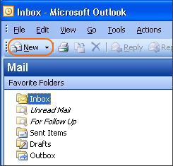 In the main view of Outlook, click the New button to open a new message.