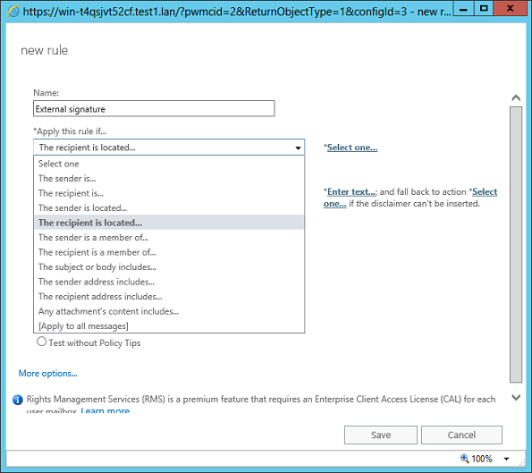 Exchange 2016 ECP: Configuring conditions for a mail flow rule