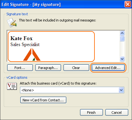 In the Edit Signature window, you can preview your email signature and modify it using the Advanced Edit option.