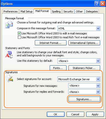 How to set up email signature in outlook 2003 in the signatures section click the signatures button reheart Gallery