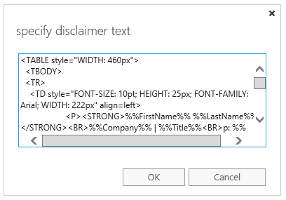 Exchange 2016 ECP: The 'specify disclaimer text' window