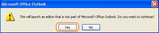 The pop-up window informing that an external editor will be launched.