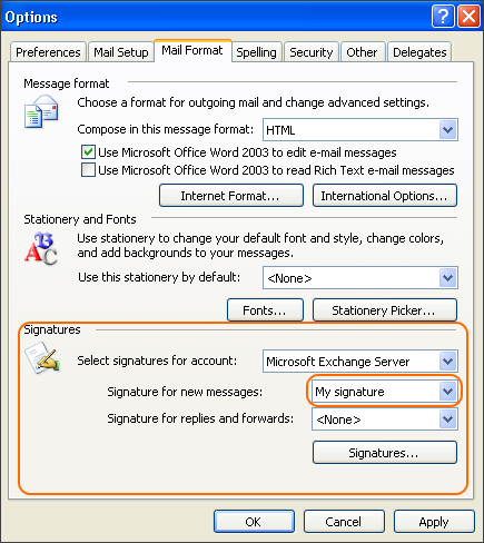 Select your email signature as a signature for new messages.