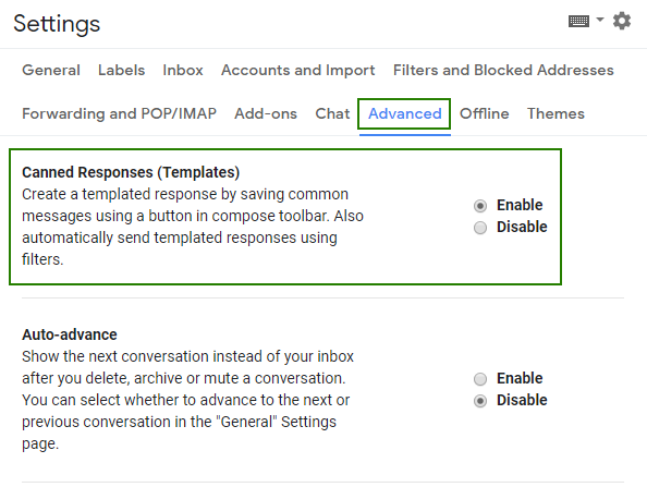 How to turn canned responses in Gmail - advanced settings