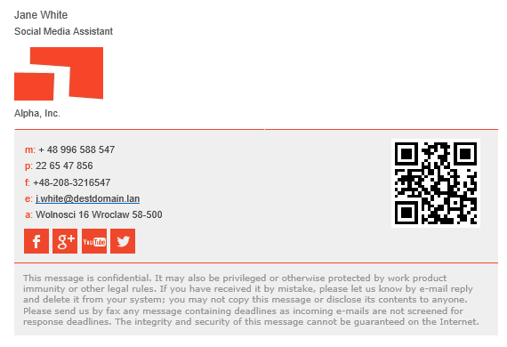 Simple email signature design with social media buttons and QR code