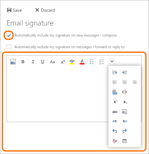 Use available formatting tools to create your email signature in Outlook on the Web.