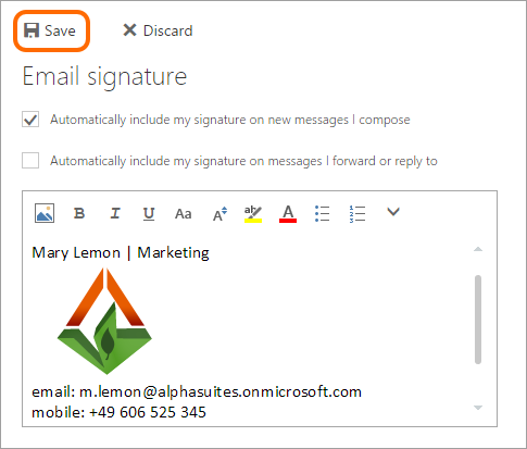Click the Save button to submit all changes in your email signature.