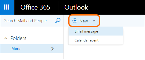 Click the New button to open a new email message in Outlook on the Web.