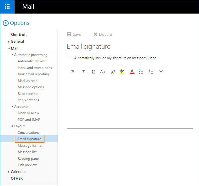 Exchange 2016 OWA - Email signature editor