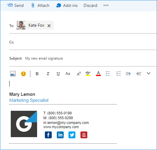 Exchange 2016 OWA - New email with email signature