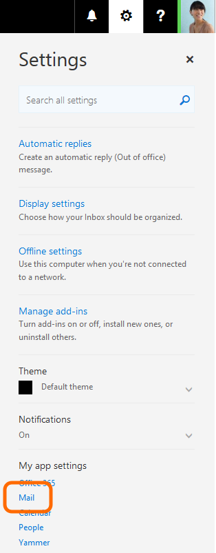 Go to the Option section in Outlook on the Web.