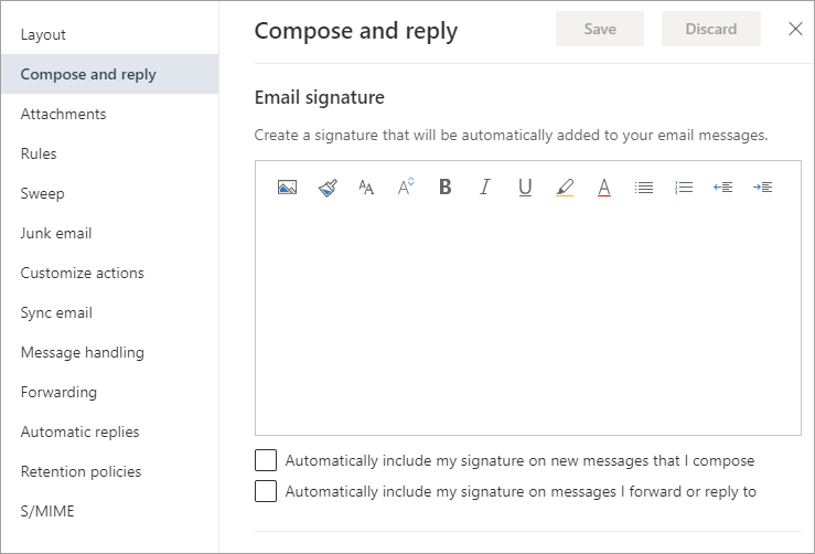 The new Outlook on the Web signature settings