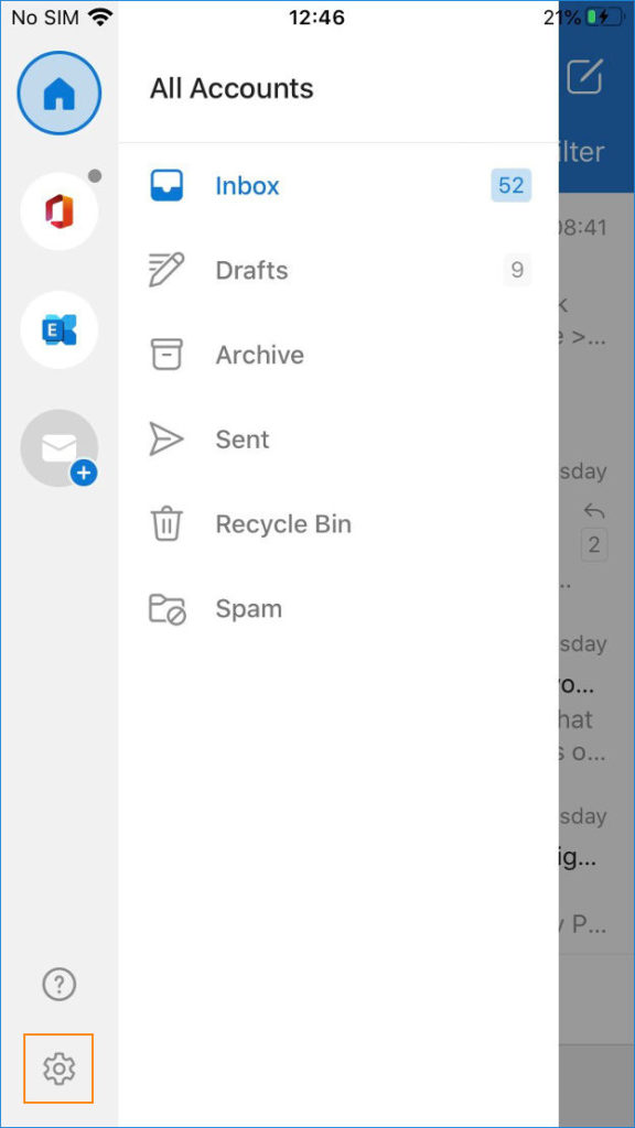 Outlook for iOS - access options