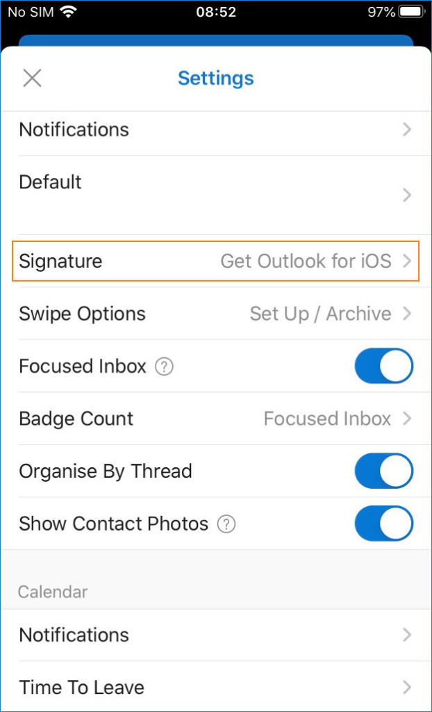 Outlook for iOS - options