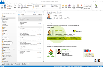 Email signature displayed in user's Sent Items folder in Outlook