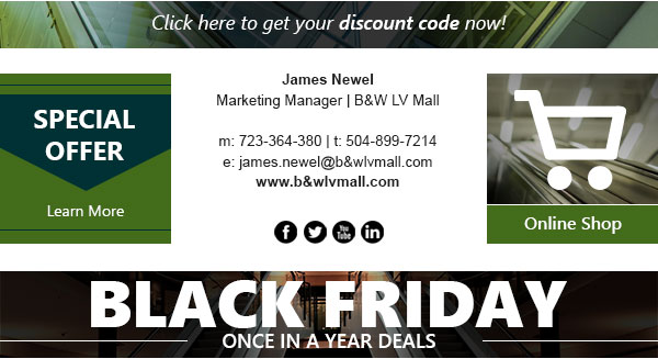 Black Friday email signature created in CodeTwo's program.