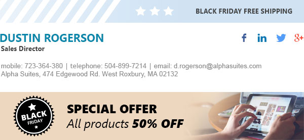 Black Friday email signature including top and bottom marketing graphics.