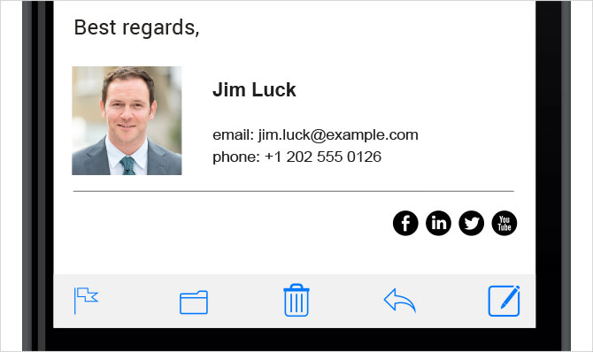 Sample email signature for personal email mobile