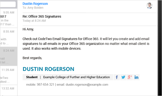sample email signatures