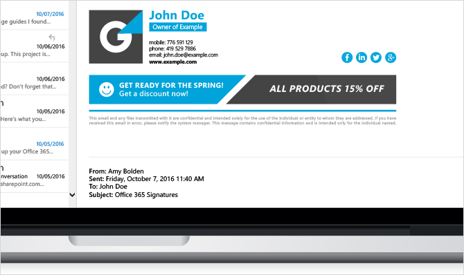 sample mobile email signature for business owner