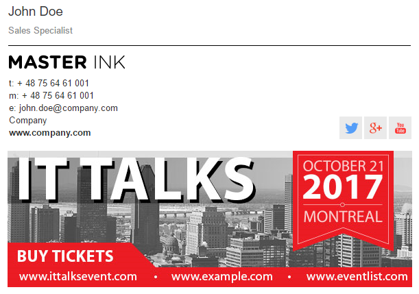 An email signature with a banner promoting an IT event in 2017.
