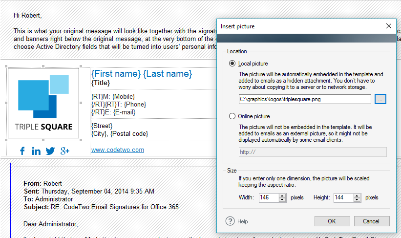 add picture to email signature CodeTwo