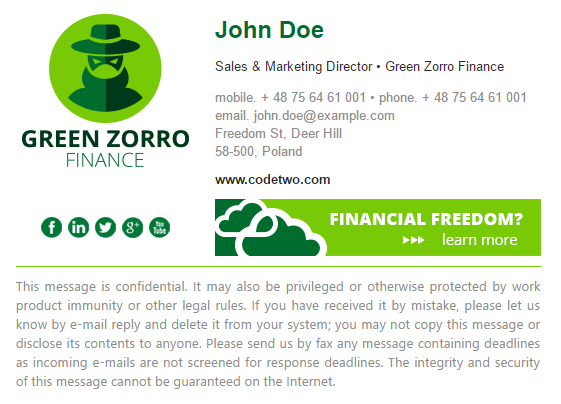green zorro finance standardized email signature