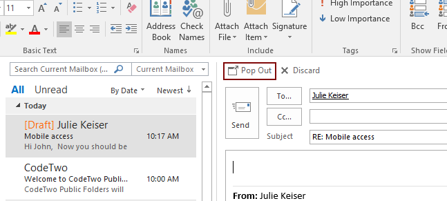 images display correctly in email signatures - not as attachments Pop Out