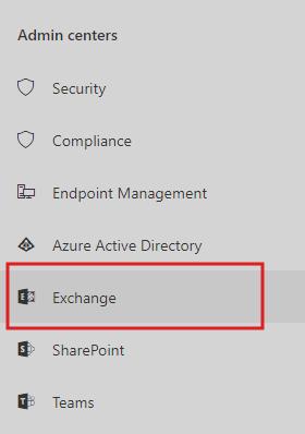 Admin centers - Exchange
