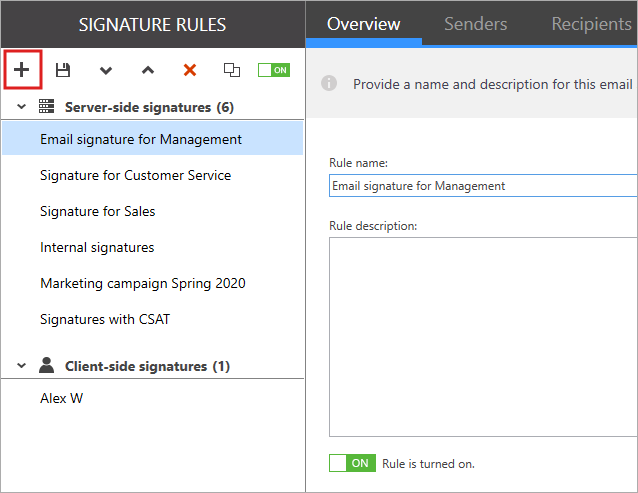 Create new rule in the Manage Signatures App.
