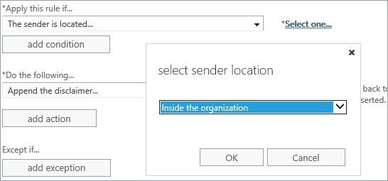 Select sender location