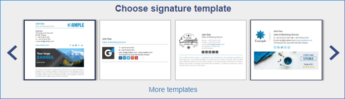 Free email signature generator - choose template