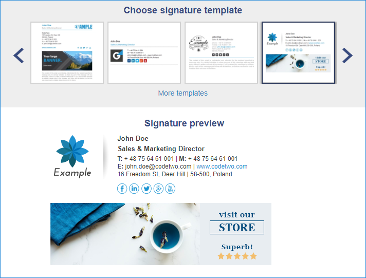 Signature generator guide - Choose signature template