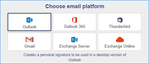 Signature generator guide - choose email platform