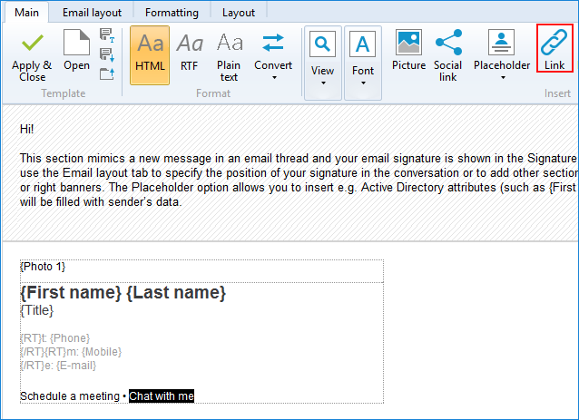 Insert hyperlink in CodeTwo Email Signatures for Office 365