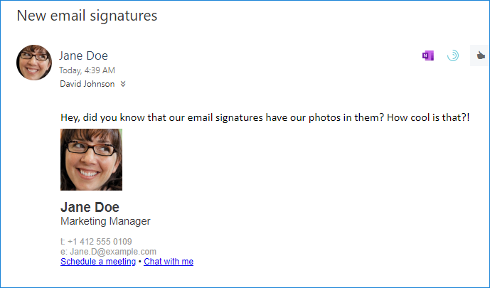Sample email signature with Teams deep links