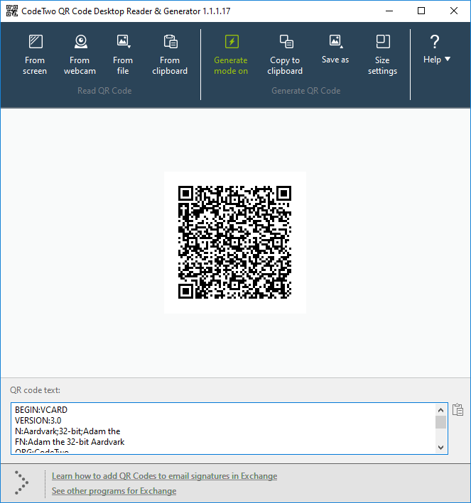 Encoded vCard in QR code