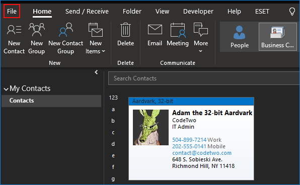Export contact to vCard in Outlook