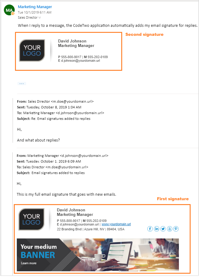 Different email signatures for  first and next email within the same thread.
