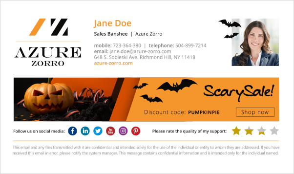 Halloween email signature design - scary inspiration