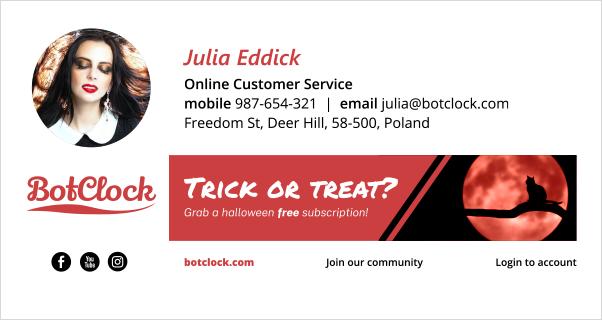 Halloween email signature design - vampirella