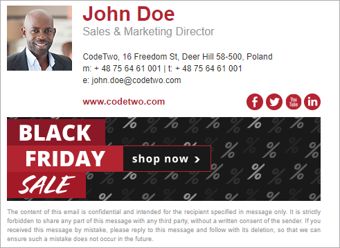 Black Friday email signature inspirations – template 1